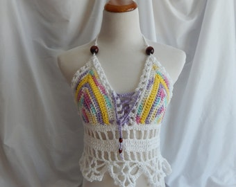 Crochet Halter Top - Sexy Lace Up Boho Festival Top With Beads - Pastel
