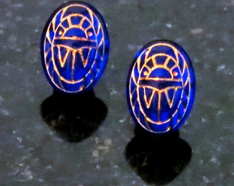 Glass Scarab Earrings Sapphire Blue with Gold Engravings Scarab Post Earrings