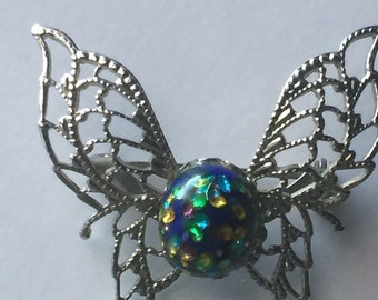 Vintage - Silver Butterfly Pin - Brooch with Multi-color glass body