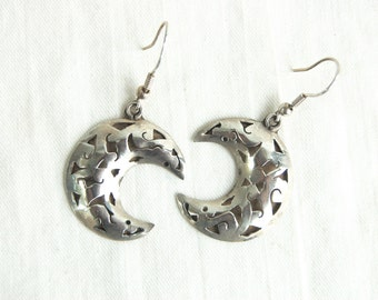 Mexican Moon Dangle Earrings Vintage Sterling Silver Dangles Lunar Crescent Moons