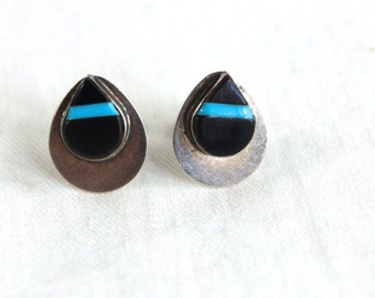 Zuni Post Earrings Inlaid Turquoise and Onyx Tear Drop Posts Studs Vintage Native American Teardrops