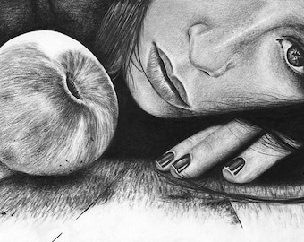 Temptation Apple Woman Dark Original Graphite Pencil Portrait Drawing