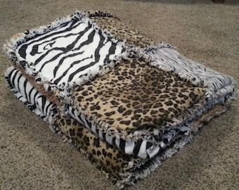 Lap-Size Safari Animal Print Flannel Rag Quilt