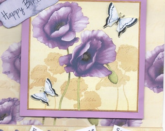 Debbie Moore cd rom card, purple card, purple flowers card, birthday card, birthday card with flowers, handmade card, some one special card
