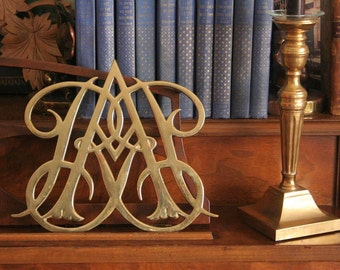 Brass trivet, Virginia Metal Crafters, Queen Anne cypher