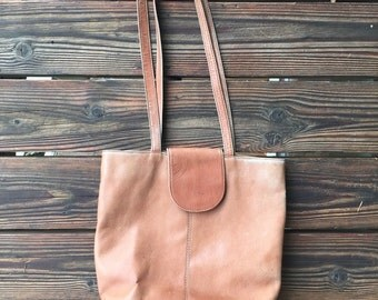 Vintage Distressed Tan Leather Shoulder Bag