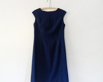 Mid Century Tailored Navy Wool Dress - James Chambers Canada