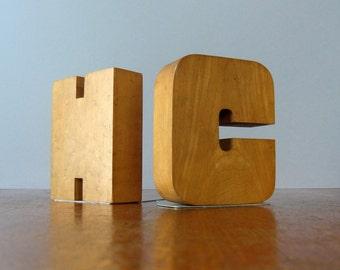 Vintage Birdseye Maple Wood Letter Bookends