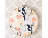 As Seen In Somerset Home Cork Bulletin Board Moderm Floral Embroidery Hoop with Tacks Organize Wall Decor Home Office