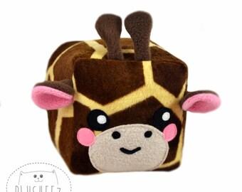 Giraffe cube plush toy kawaii novelty pillow minky soft faux fur loaf square safari stuffed animal