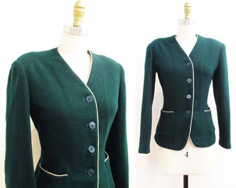 Vintage 1940s Jacket   Hunter Green Wool 1940s Blazer   size small - medium