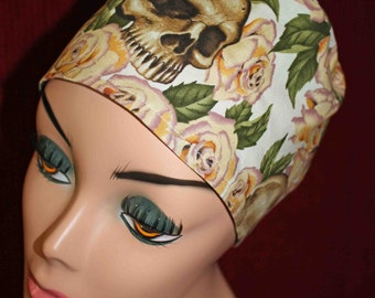 Cream Rose and Skulls Surgical Cap(biker/chemo/surgical)