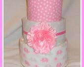 Diaper Cake- Baby Girl Elephant Themed-Baby Shower Centerpiece