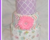 Baby Girl Owl Themed Diaper Cake-Amazing Baby Gift Idea