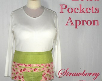 Strawberry Fields Lotsa Pockets Apron, Vendor Apron with zipper pocket, Teacher- Waitress- New Mommy Apron, LIMITED EDITION, ready to ship