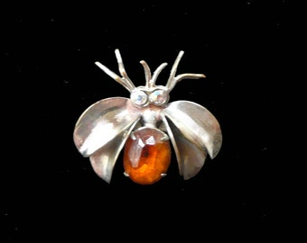 Vintage Bug Insect Brooch Moth