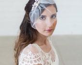 Mini Veil, Small Birdcage veil, Tulle veil, wedding veil, Pearl Wedding veil, Blusher Veil, Bird Cage Bridal Veil, Crystal and Pearl Comb