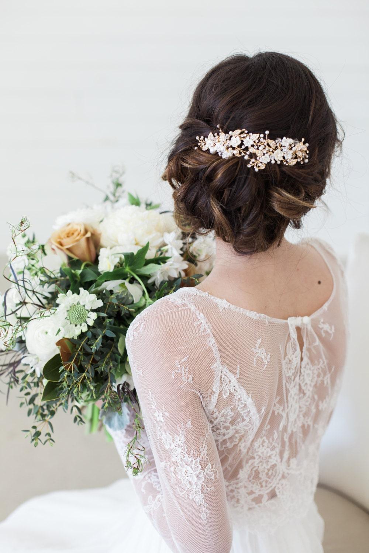 Wedding Hair Accessories Gold Flower Headpiece Ivory Flower