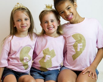 BFF shirts  - best friends forever shirts - set of 3 shirts - mom and daughter shirts - best friend tshirts - 3 shirts - set of 3