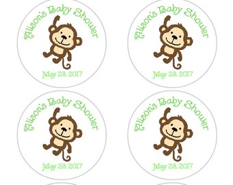 Personalized Baby Shower Favor Labels, Monkey Baby Shower Stickers in green, monkey baby shower decorations, gender neutral, baby boy