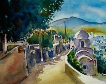 Watercolor Painting Greece Original Art Street Scene Landscape Buildings  Seascape  CarlottasArt
