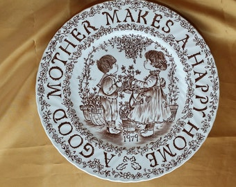 "Vintage 1979 Royal Crownford ""A Good Mother Makes A Happy Home"" Plate by Norma Sherman, Staffordshire, England, Brown on White - Kitschy *eb"