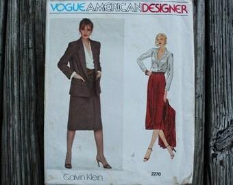 Vogue American Designer Calvin Klein 2270 1970s 70s Skirt Blouse Midi Skirt Vintage Sewing Pattern Size 10 Bust 32.5