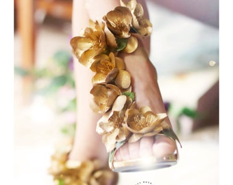 Gold Wedding shoes,  Bridal Pump with Straps, Gold Bridal Shoes, Bridal Couture, Flower Shoes, Floral Pumps,  gold pumps, gold, gold flowers