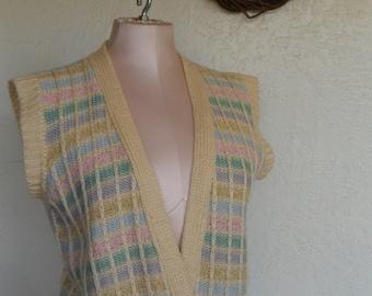 Vintage Sweater Vest 1970's by FC ltd Size Medium