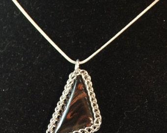 Mahogany Obsidian Triangular Pendant Set in Chainmail