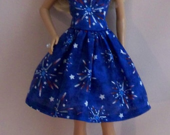Handmade Barbie Doll Clothes- Red, White, Blue Barbie Dress, July 4th