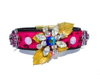 Luxury One of a Kind Hair on Hide Vintage Swarovski  Bracelet