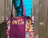 Wonder Woman Purse, Wonder Woman Tote, Shoulder Bag, Diaper Bag, Lined Tote, Lined Bag, Fabric Bag, Everyday Bag