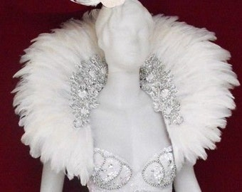 Feather Showgirl Cabaret Drag Swan White Snow Backpack