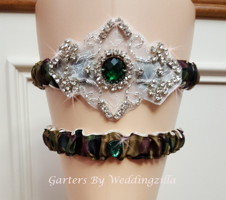Camo Wedding Garter Set / CAMOUFLAGE CRYSTAL GARTER Set/ Camo