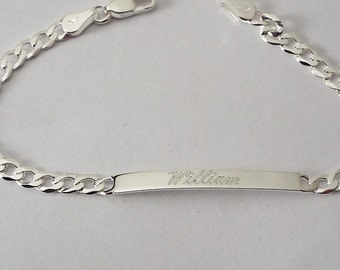 Custom Engraved Personalized Sterling Silver Lightweight 7.5 Inch Slim ID Bracelet - Hand Engraved