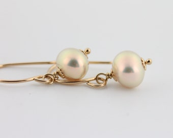 Pearl earrings, metallic pearls, golden, high luster, freshwater, handcrafted, gold: Simply Adorned