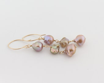 Flameball pearl earrings, pondslime, keshi, mauve, fireball pearl, handcrafted gold: Simply Adorned