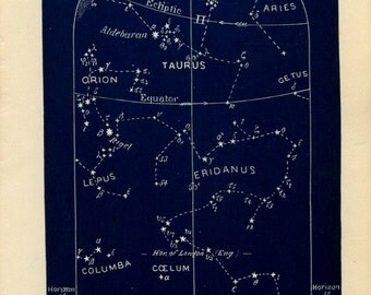 1882  Set of Four Astronomy Charts,  Original Antique  Print Northern Map for January, Sky Constellations and Stars