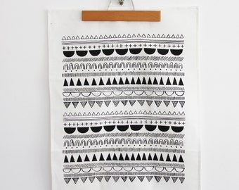 WABI SABI Tea Towel - screen printed linen dish towel