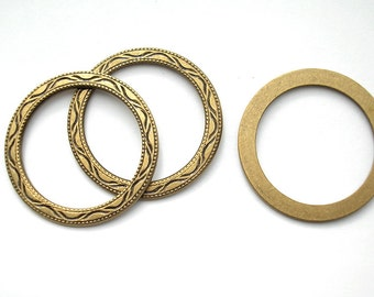 6 Pieces Antiqued Brass Textured Hoop Rings