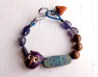 Night Flight - handmade bracelet, wooden, purple bracelet, bead bracelet, owl bracelet, owl jewellery, iolite bracelet, songbead, uk