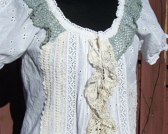 White Eyelet Bohemian Blouse with Vintage Crochet Lace Trim - Altered Couture Coachella Steampunk Clothing