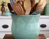 Jumbo Utensil Holder - Aqua Mist - Flower Pot - Kitchen Decor - Hand Thrown Vase - Modern Home Decor - MADE TO ORDER