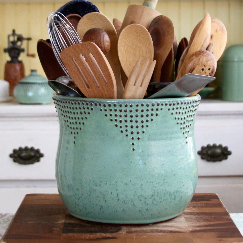 Jumbo Utensil Holder Aqua Mist Flower Pot Kitchen Decor