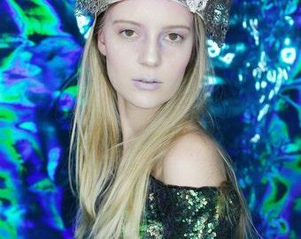 The Grand Coral Reef Crown mermaid costume sapphire seashell crown