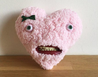 Miss Heart, with teeth / Teddy Bear with teeth - Decorative Doll - Handmade and OOAK /Ready to ship/ Quirky Uncanny Scary Creepy Cute