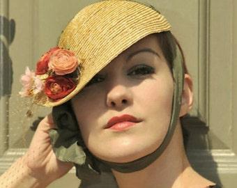 The June Bride Hat - 1920's Style Cloche - Bonnet w/ Silk Ties & Flower Bouquet - Royal Ascot - Derby Hat Hat