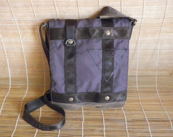 Vintage Waterproof Blue Grey  Canvas Cross Body Bag Messenger Satchel
