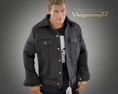 1/6th scale black denim jacket for male collectible figures and dolls